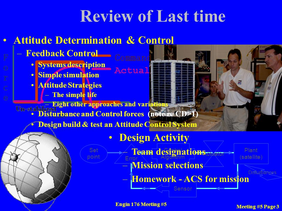Review of Last time Attitude Determination & Control Design Activity