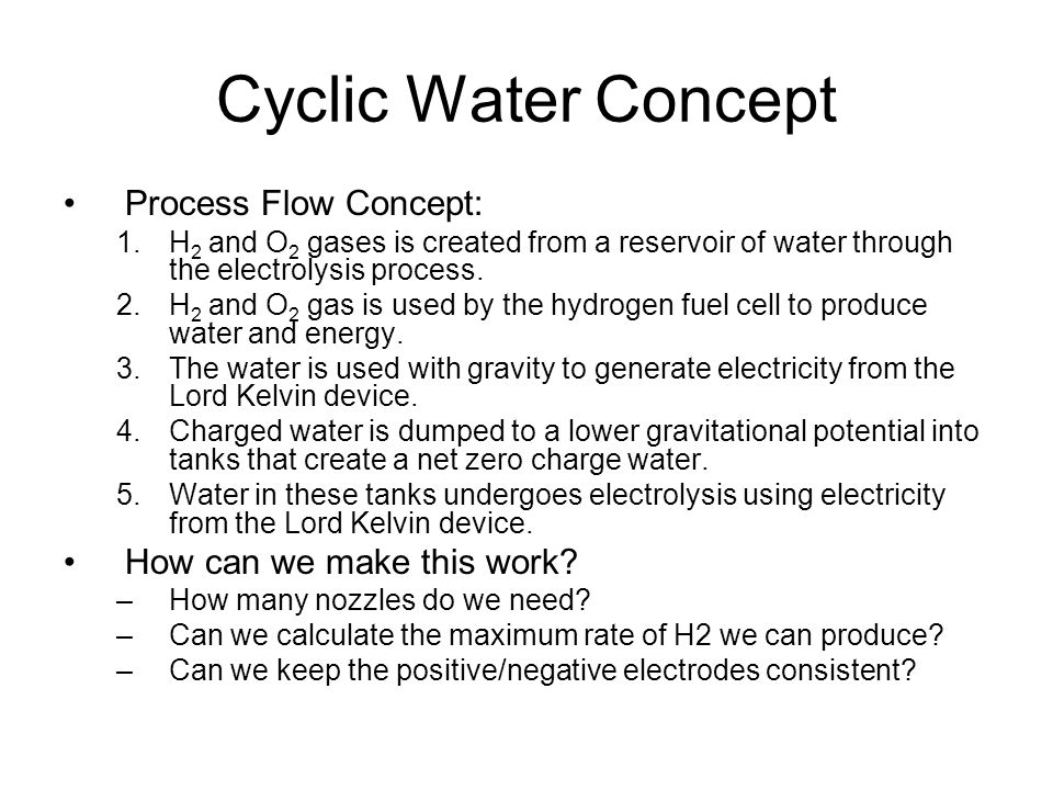 Cyclic Water Concept Process Flow Concept: How can we make this work