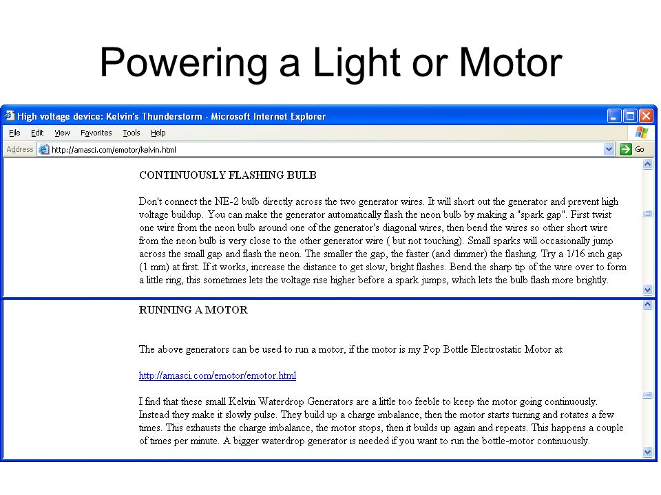 Powering a Light or Motor