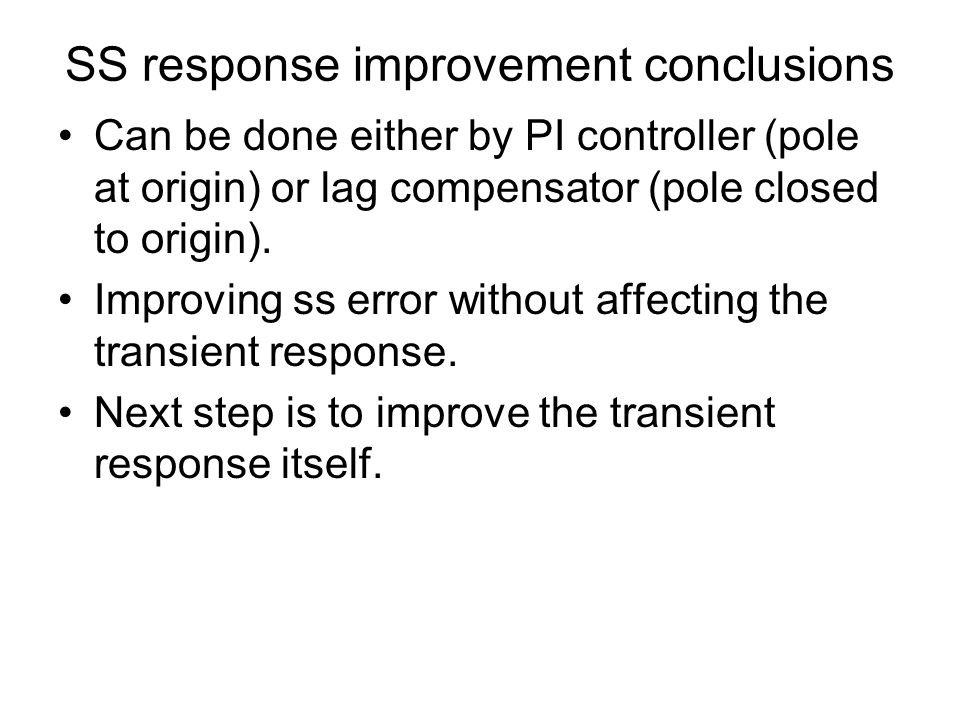 SS response improvement conclusions