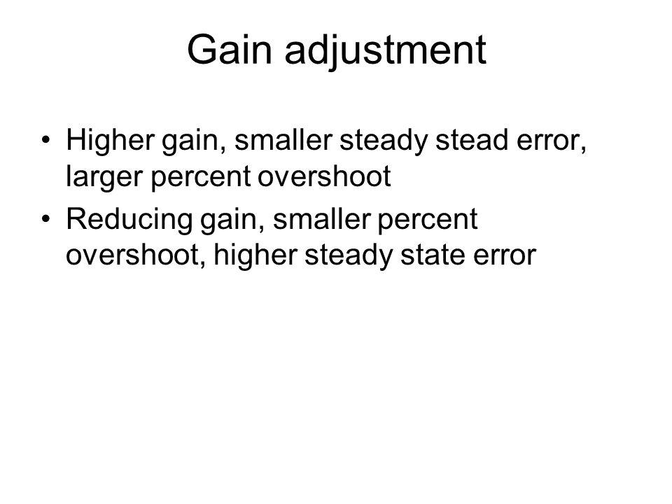 Gain adjustment Higher gain, smaller steady stead error, larger percent overshoot.