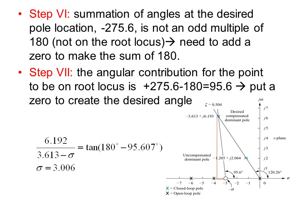 Step VI: summation of angles at the desired pole location, -275