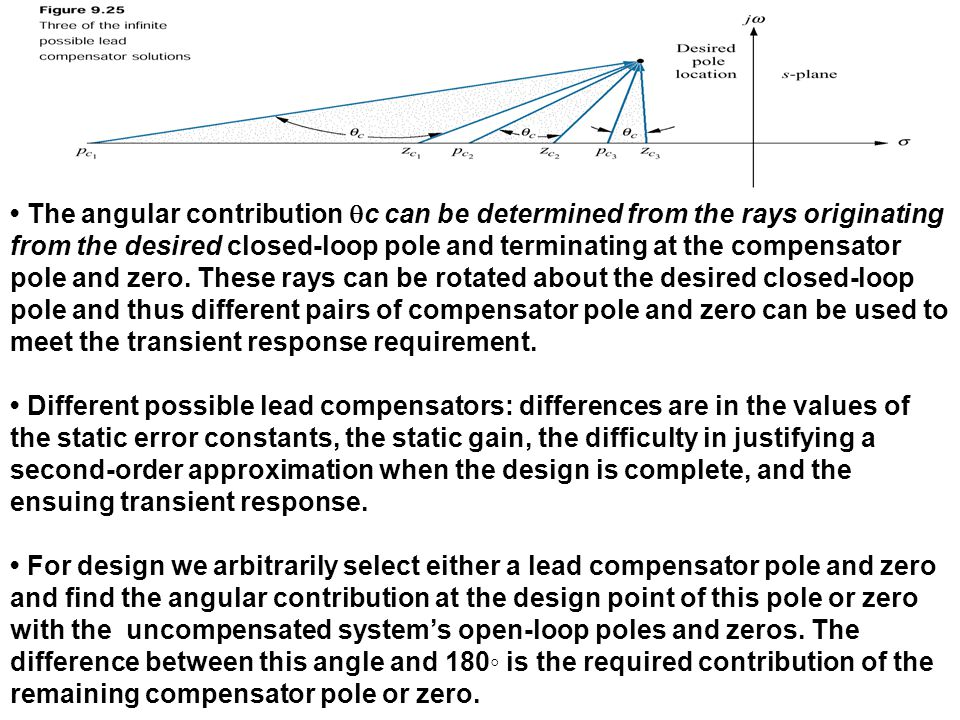 • The angular contribution qc can be determined from the rays originating from the desired closed-loop pole and terminating at the compensator pole and zero. These rays can be rotated about the desired closed-loop pole and thus different pairs of compensator pole and zero can be used to meet the transient response requirement.
