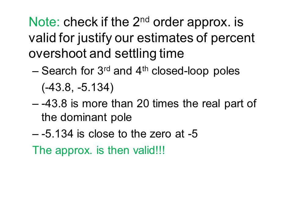 Note: check if the 2nd order approx