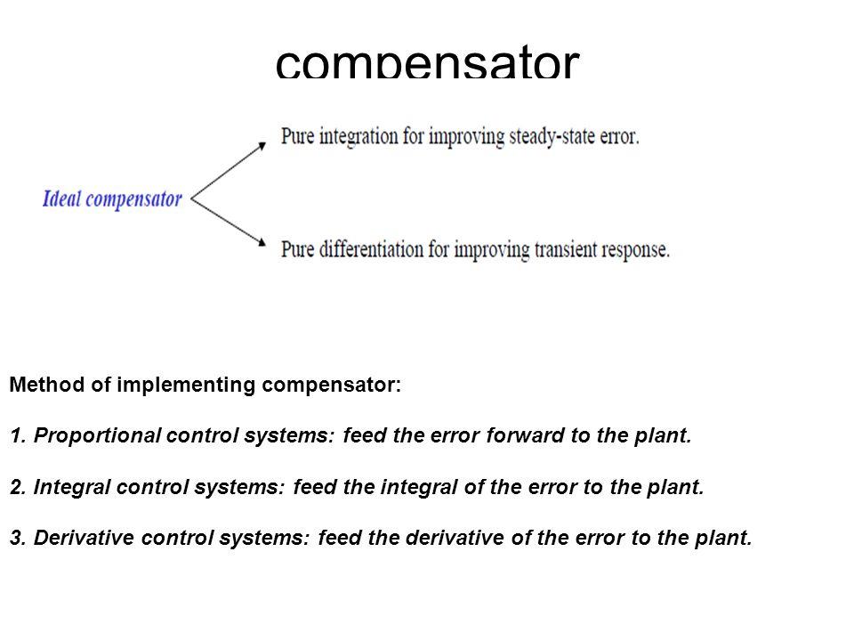 compensator Method of implementing compensator: