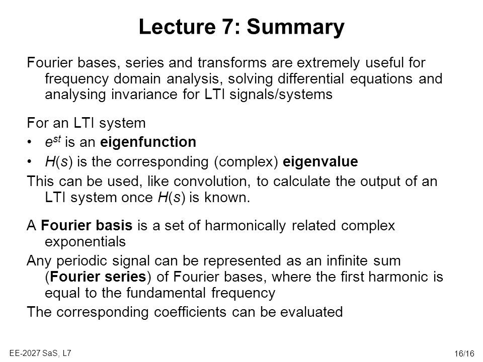 Lecture 7: Summary