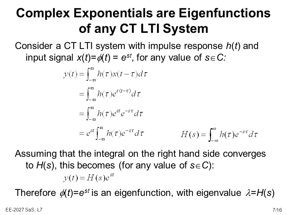 Complex Exponentials are Eigenfunctions of any CT LTI System