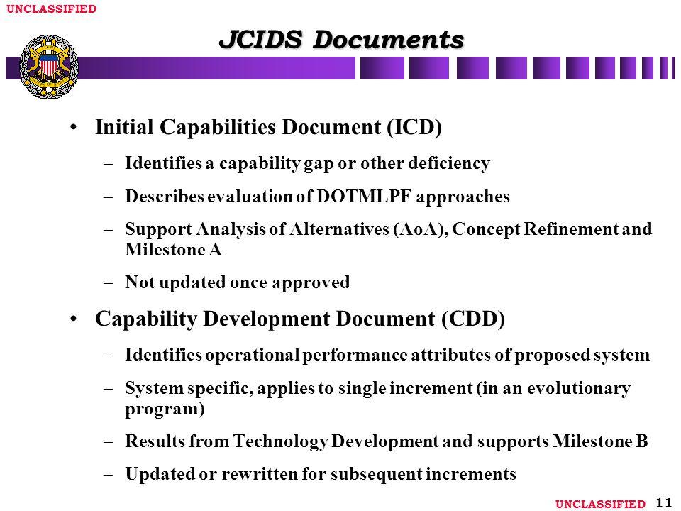 JCIDS Documents Initial Capabilities Document (ICD)