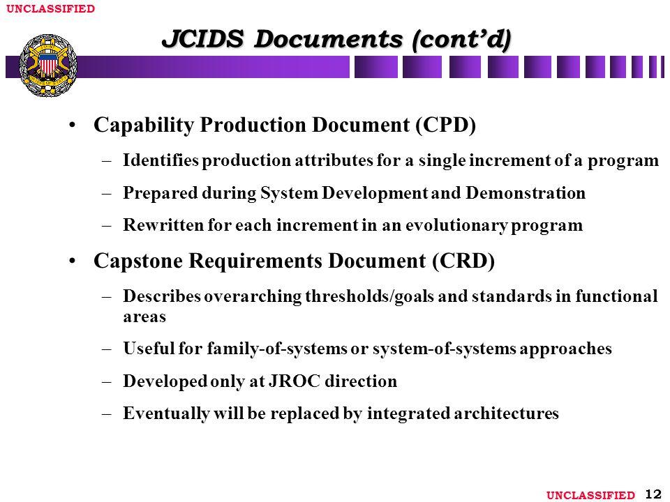 JCIDS Documents (cont'd)