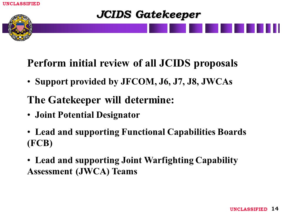 Perform initial review of all JCIDS proposals
