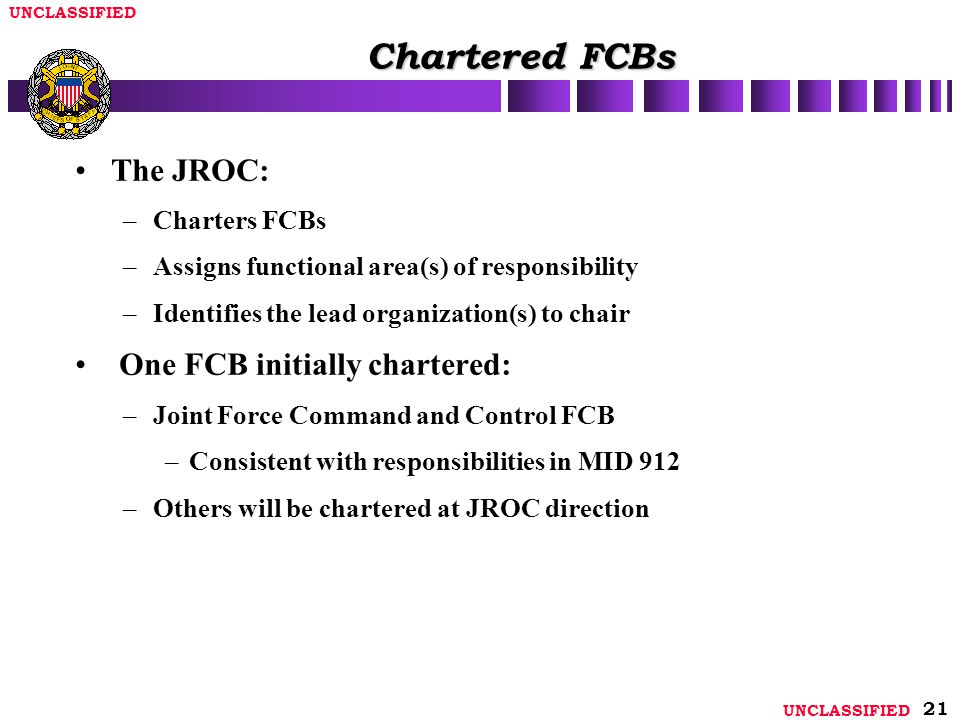 Chartered FCBs The JROC: One FCB initially chartered: Charters FCBs