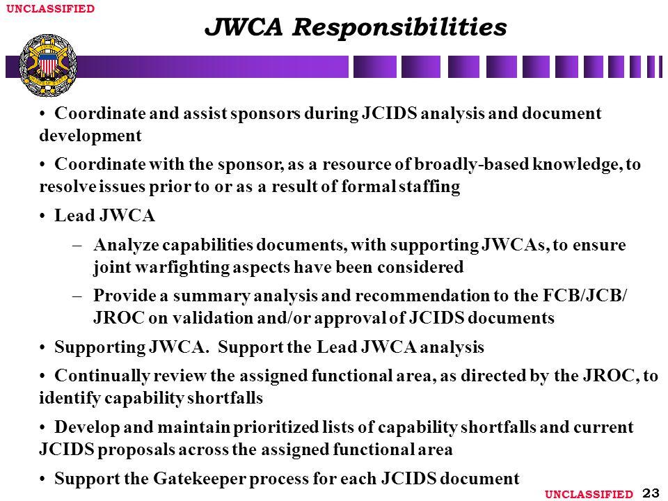 JWCA Responsibilities