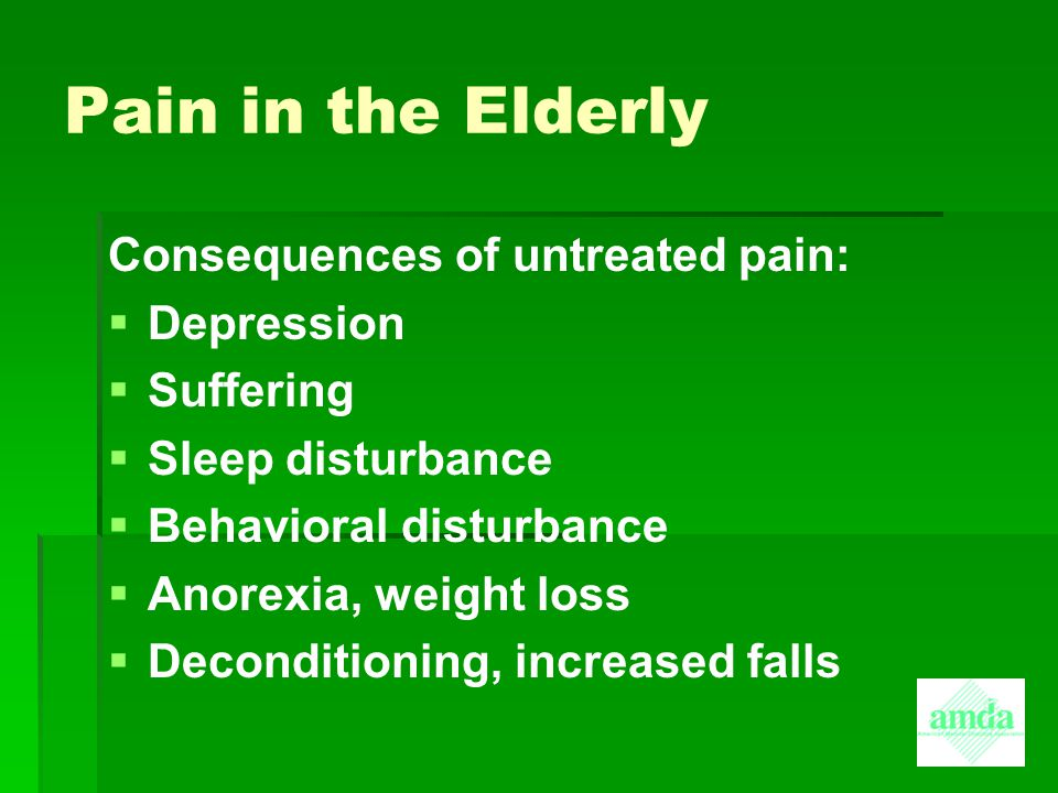 Pain in the Elderly Consequences of untreated pain: Depression
