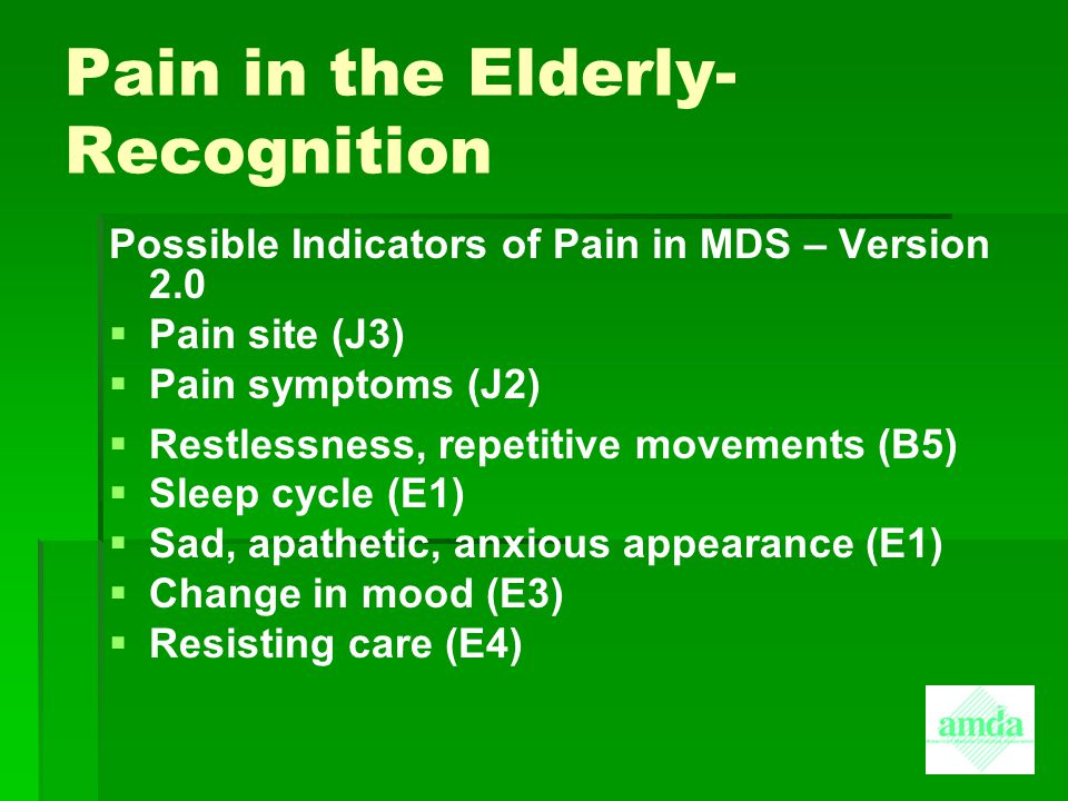 Pain in the Elderly-Recognition