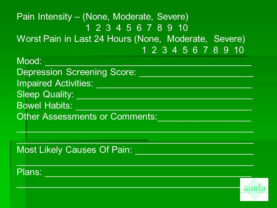 Pain Intensity – (None, Moderate, Severe) 1 2 3 4 5 6 7 8 9 10