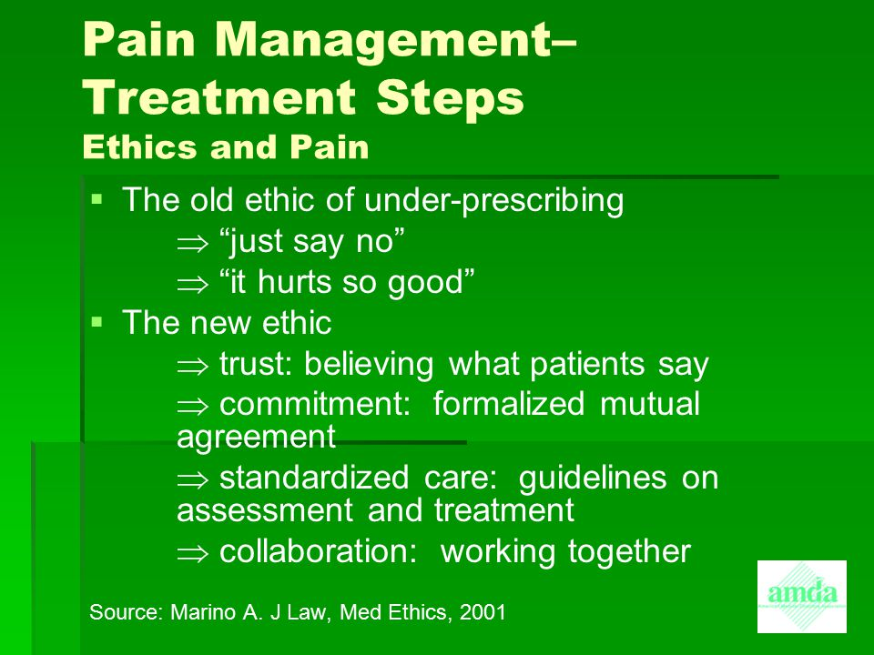 Pain Management– Treatment Steps Ethics and Pain