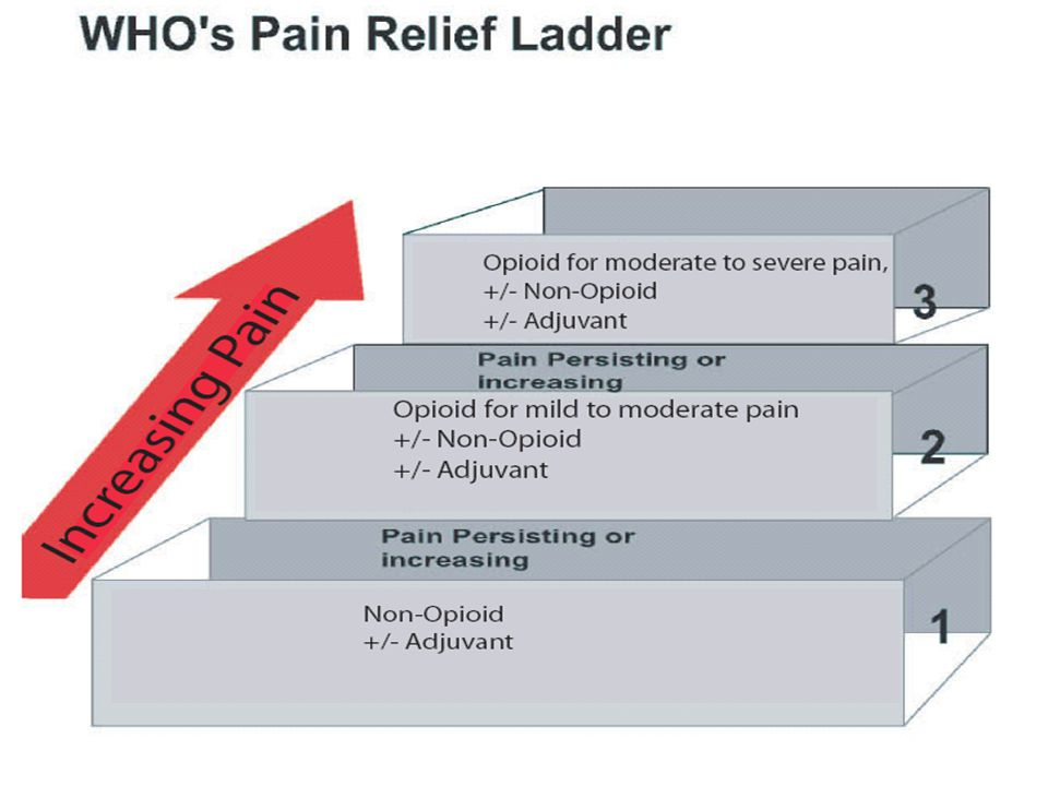 The World Health Organization (WHO) has recommended a three-step ladder approach to pain management.