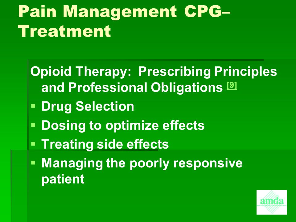 Pain Management CPG– Treatment