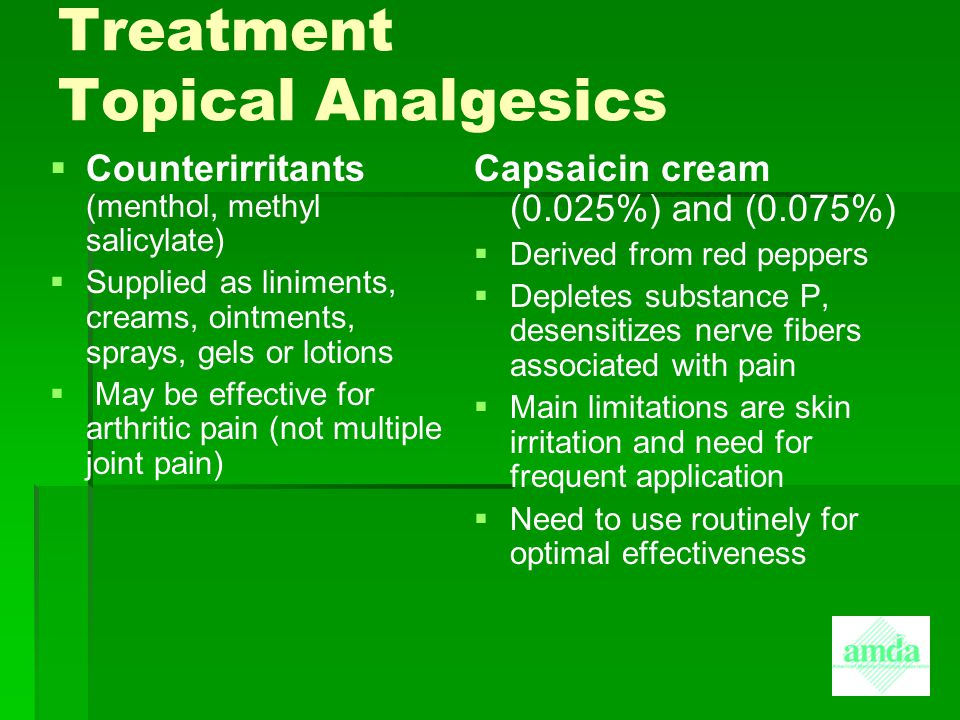 Treatment Topical Analgesics
