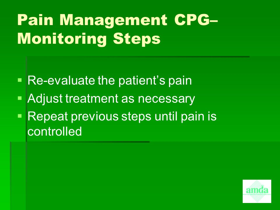 Pain Management CPG– Monitoring Steps