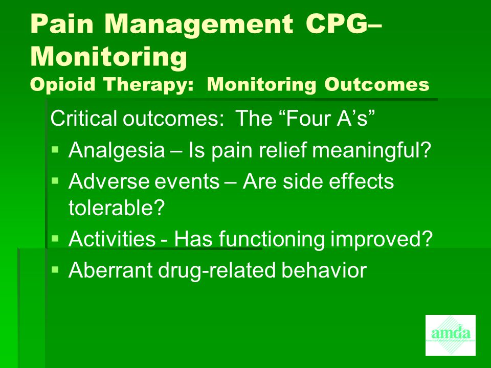 Amda Clinical Practice Guideline Cpg For Pain Management