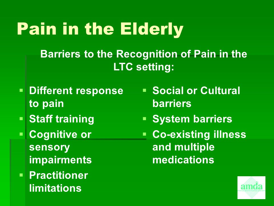 Barriers to the Recognition of Pain in the LTC setting: