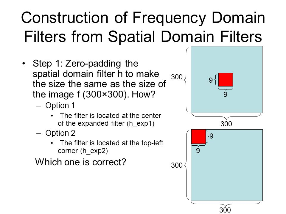 Construction of Frequency Domain Filters from Spatial Domain Filters