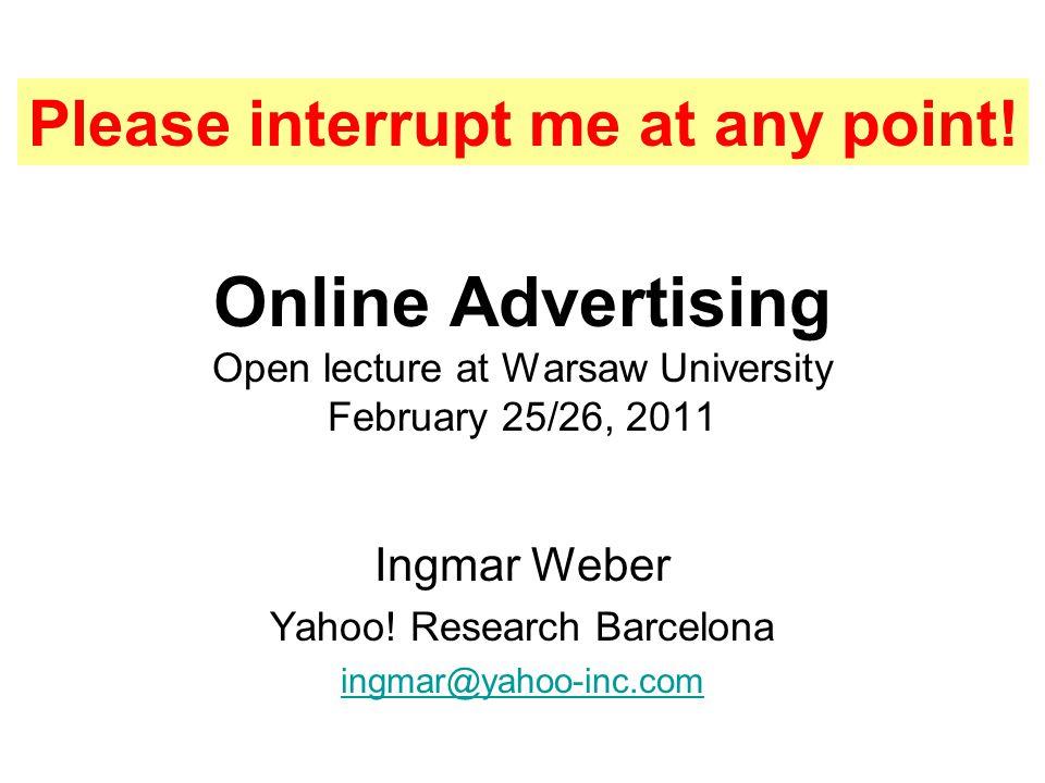 Ingmar Weber Yahoo! Research Barcelona ingmar@yahoo-inc.com