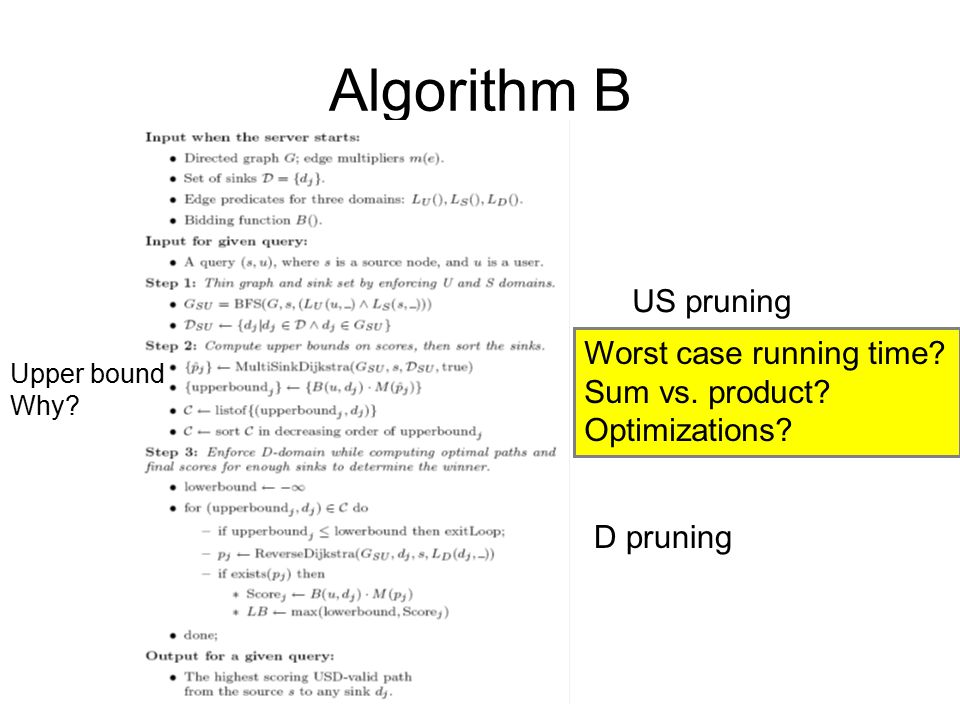Algorithm B US pruning Worst case running time Sum vs. product