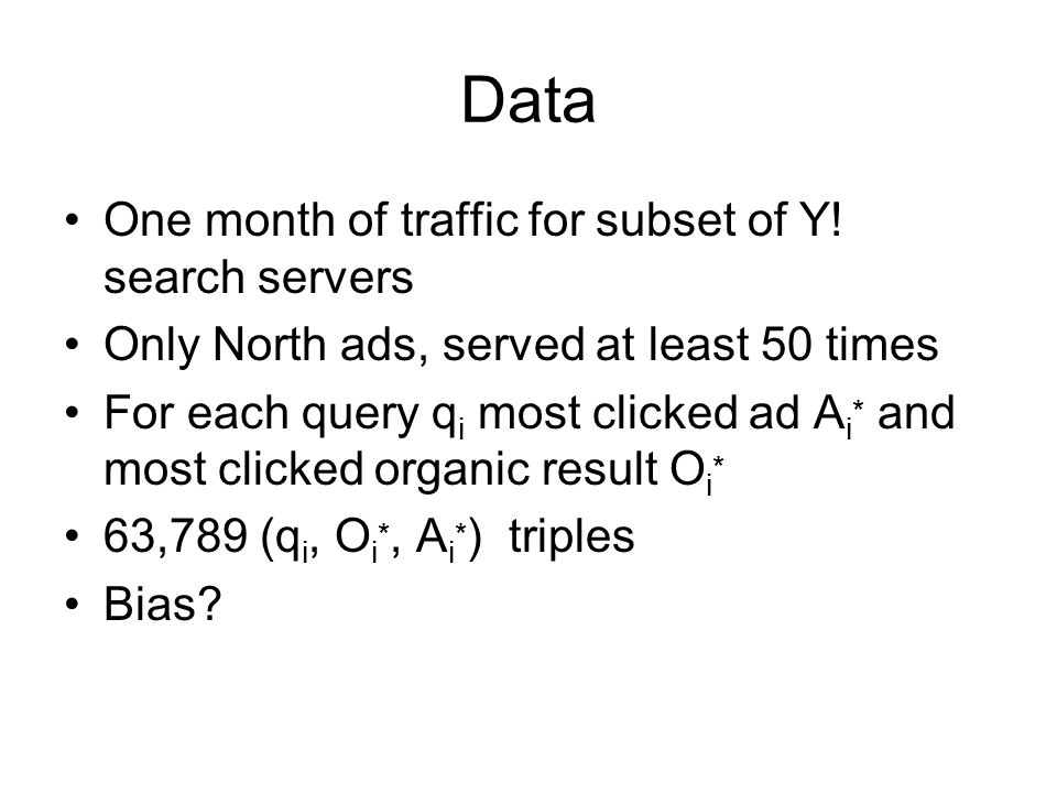 Data One month of traffic for subset of Y! search servers
