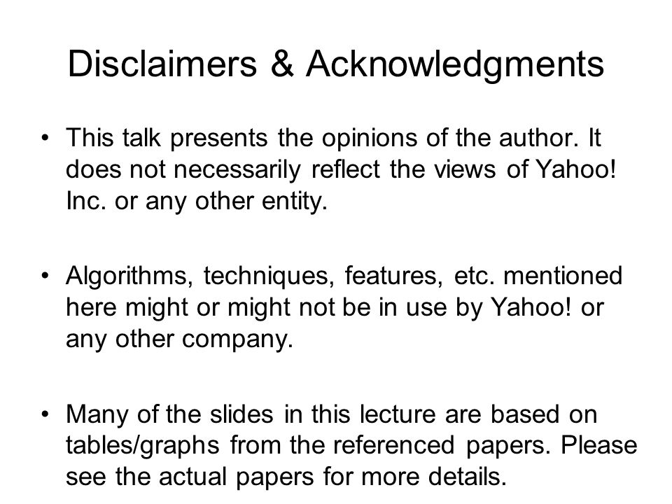 Disclaimers & Acknowledgments