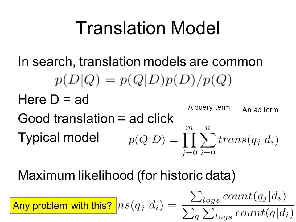Translation Model In search, translation models are common Here D = ad