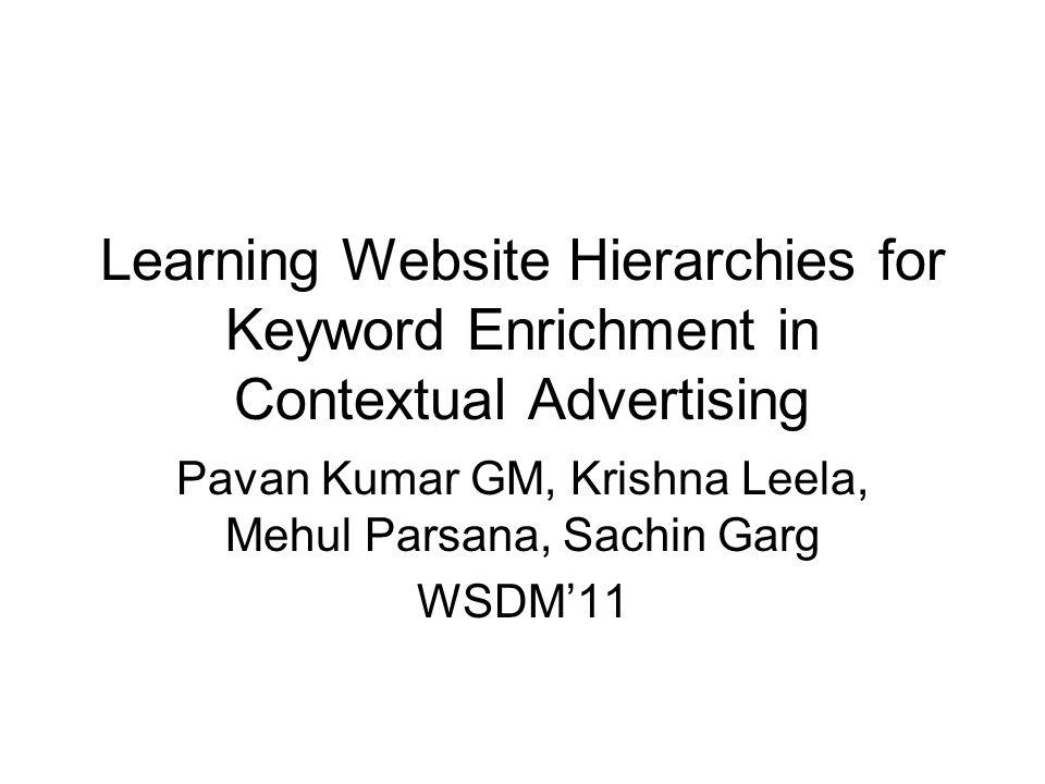 Pavan Kumar GM, Krishna Leela, Mehul Parsana, Sachin Garg WSDM'11