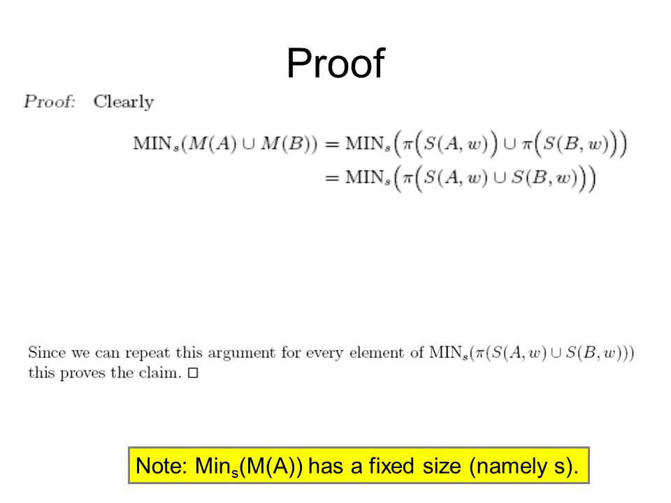 Proof Note: Mins(M(A)) has a fixed size (namely s).