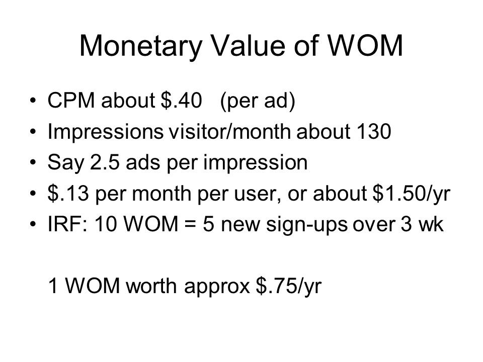 Monetary Value of WOM CPM about $.40 (per ad)