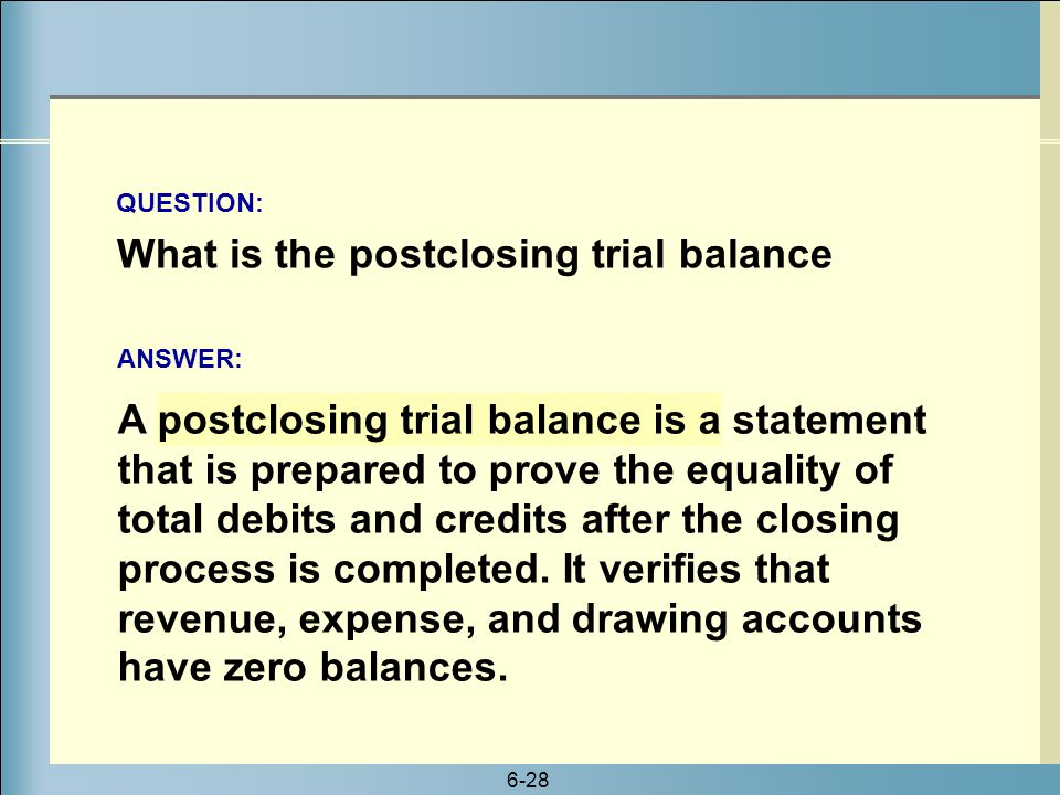 What is the postclosing trial balance