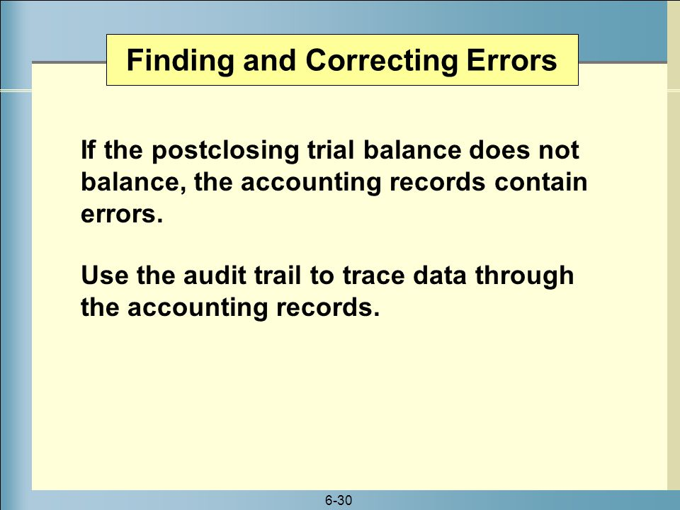 Finding and Correcting Errors
