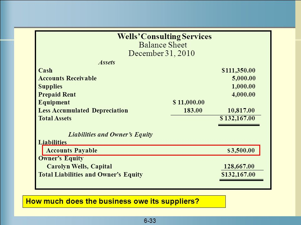 Wells' Consulting Services Balance Sheet December 31, 2010