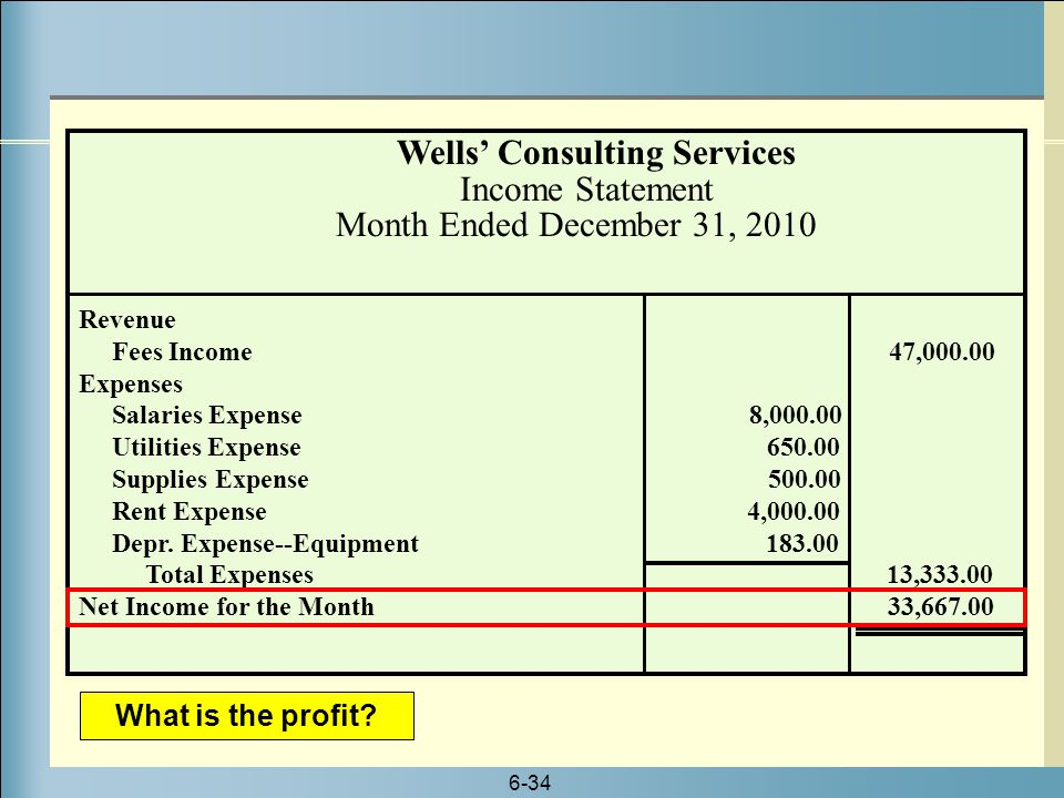 Wells' Consulting Services Income Statement