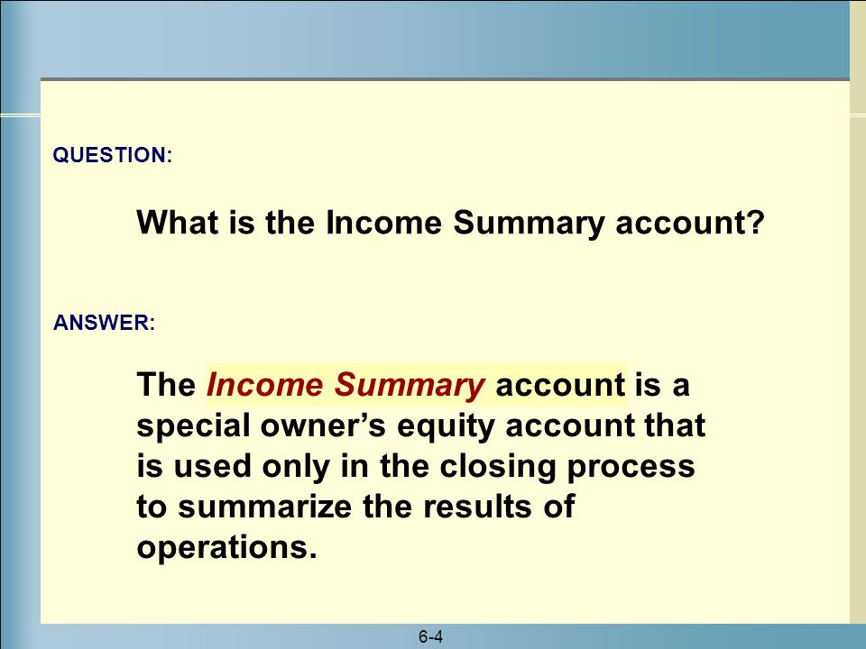 What is the Income Summary account