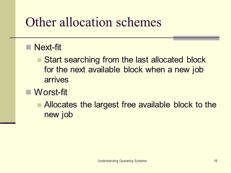 Other allocation schemes