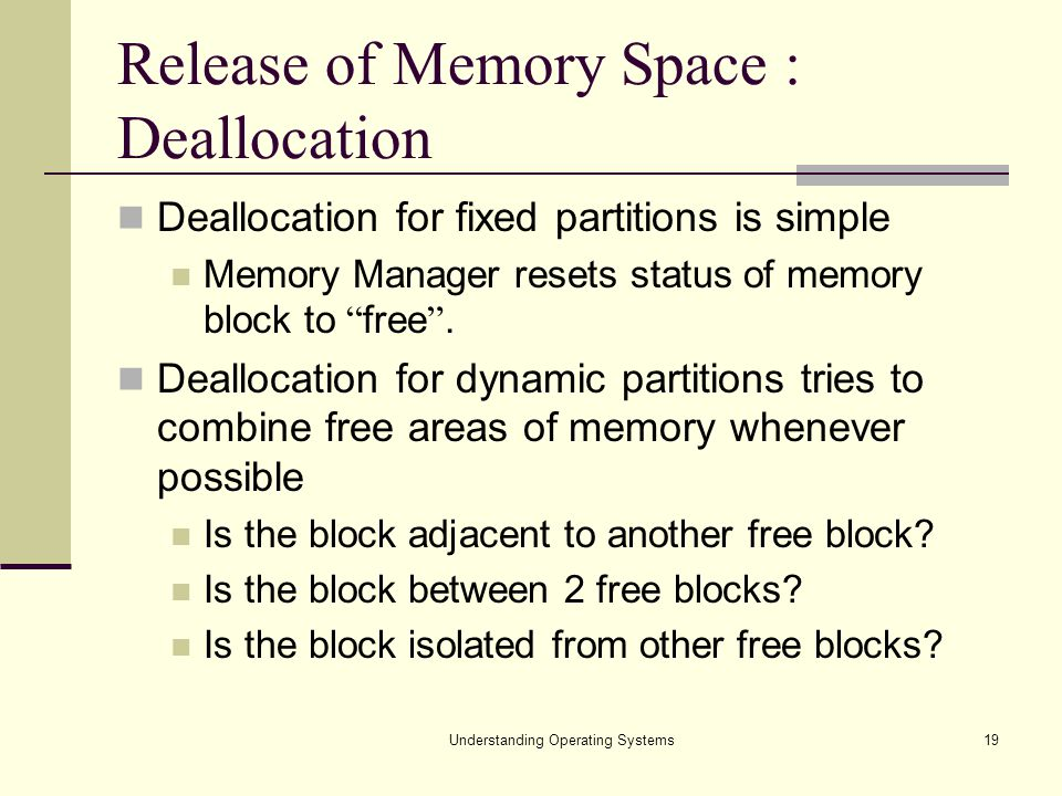 Release of Memory Space : Deallocation