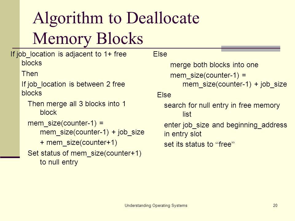 Algorithm to Deallocate Memory Blocks