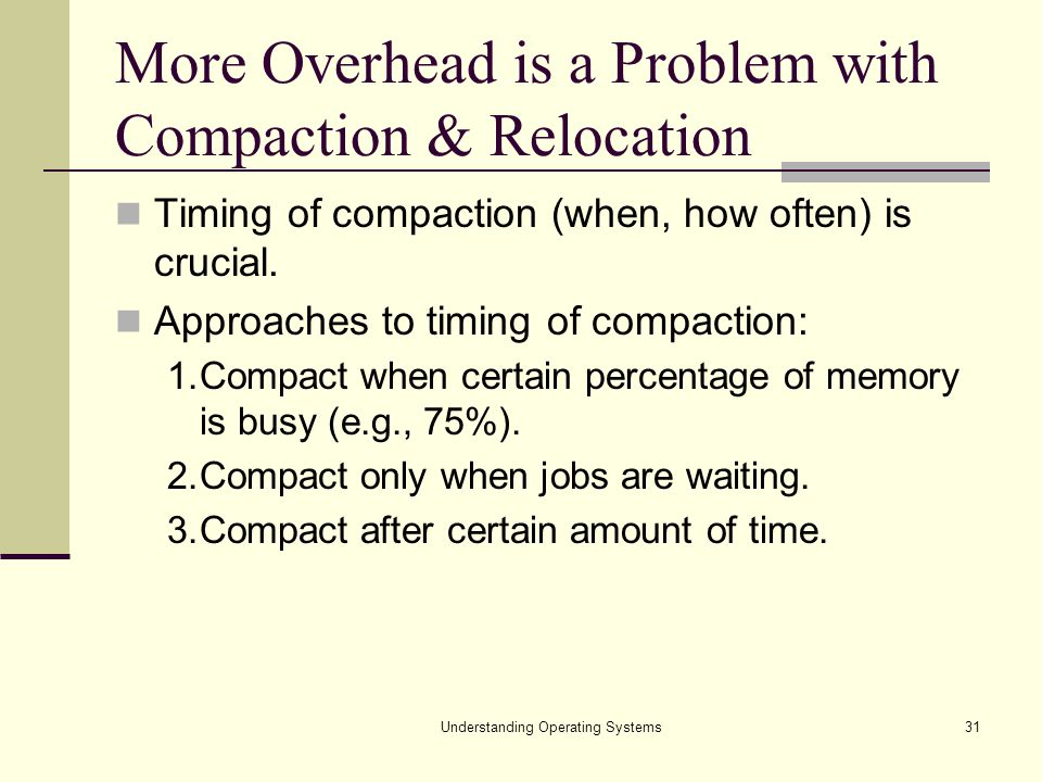 More Overhead is a Problem with Compaction & Relocation