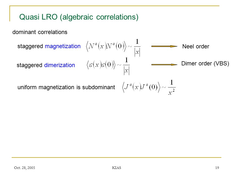 Quasi LRO (algebraic correlations)