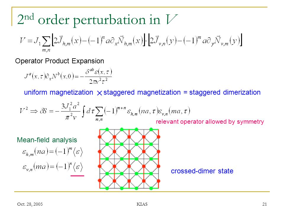 2nd order perturbation in V