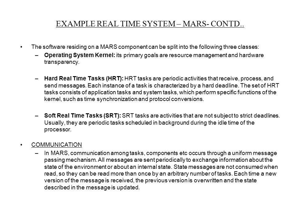 EXAMPLE REAL TIME SYSTEM – MARS- CONTD..