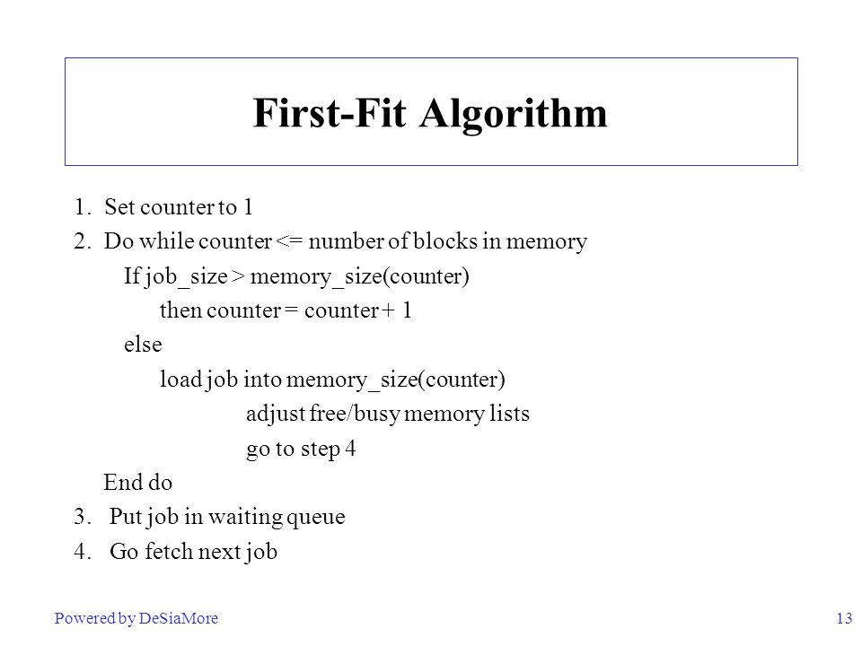 First-Fit Algorithm 1. Set counter to 1