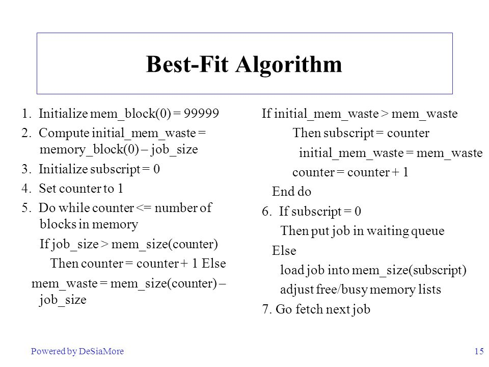 Best-Fit Algorithm 1. Initialize mem_block(0) = 99999