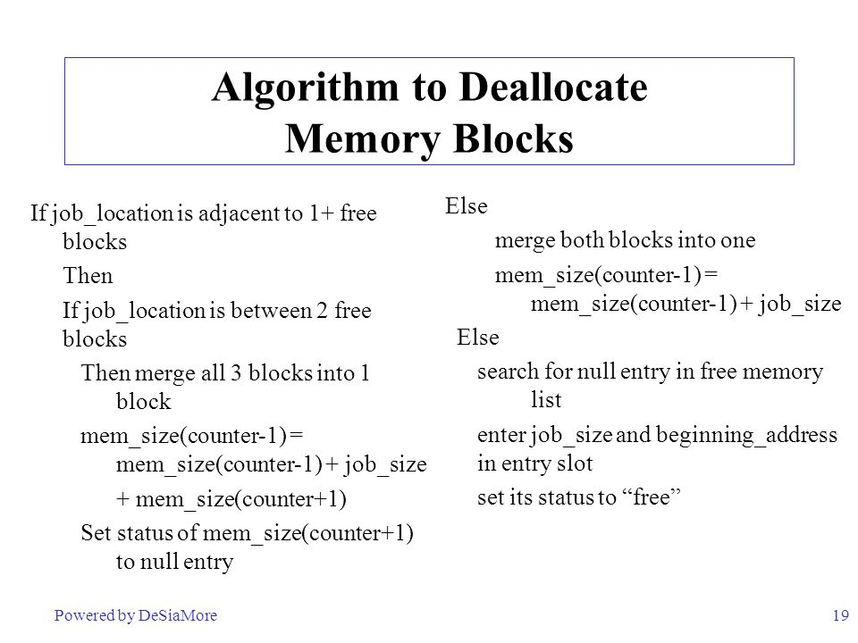 Algorithm to Deallocate Memory Blocks